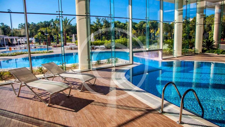 Freeform pool design using grass with cabana & waterfall